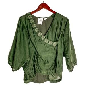 Anthro Meadow Rue Green Embroidered Blouse